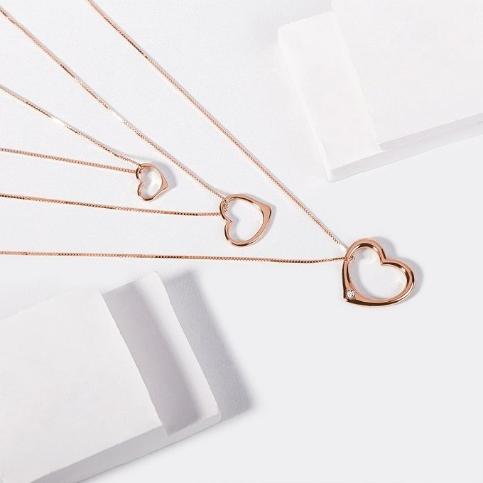 Heart pendants in rose gold - KLENOTA