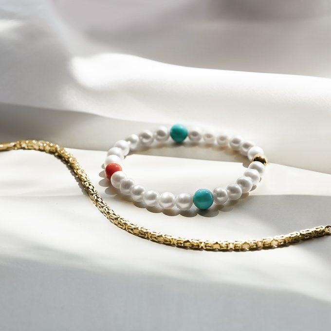 Perlenkette mit Türkis und Koralle - KLENOTA