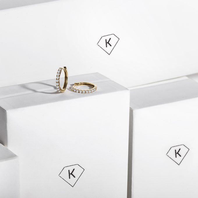 Diamantové náušnice kruhy ve žlutém zlatě - KLENOTA