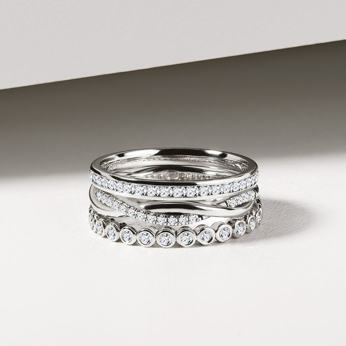 White gold wedding rings with diamonds - KLENOTA