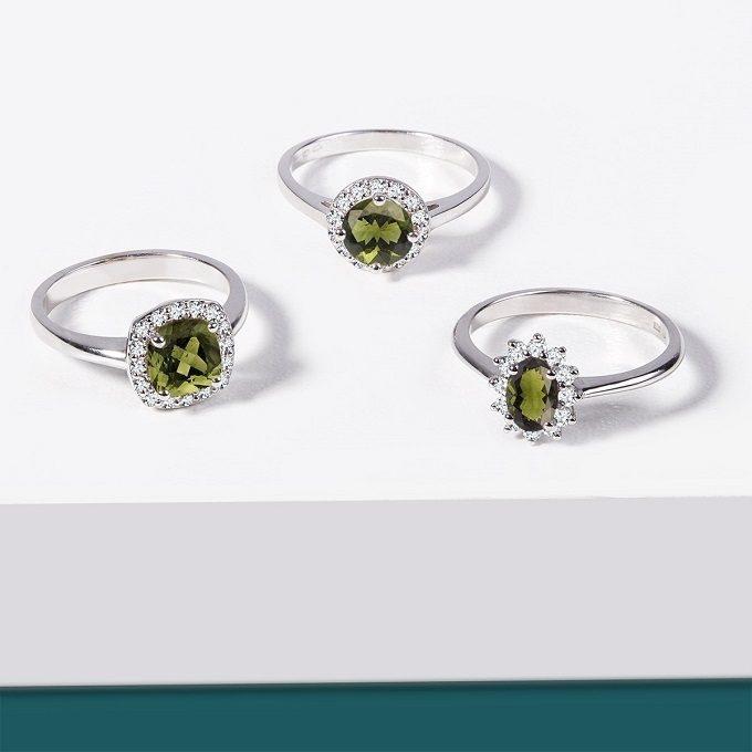 Weißgoldringe mit Moldaviten und Diamanten - KLENOTA