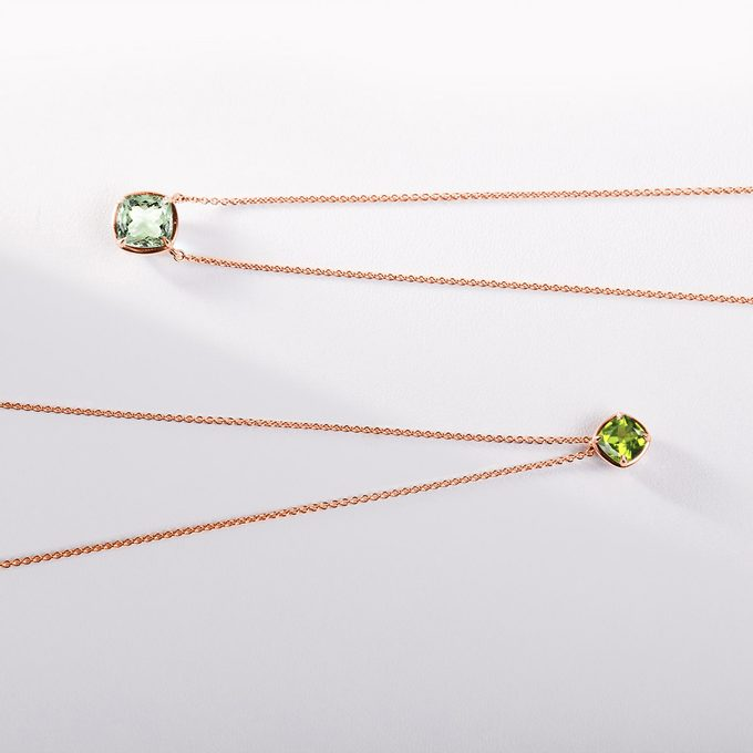 Necklaces in pink gold with peridot - KLENOTA