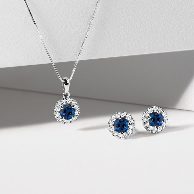 sapphire jewelry made of white gold - KLENOTA
