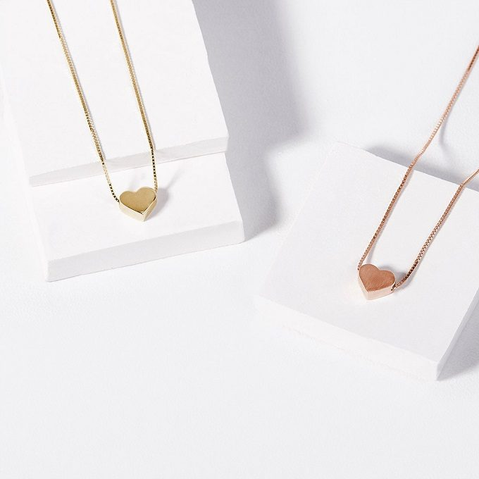 Heart-shaped necklaces in rose and yellow gold - KLENOTA