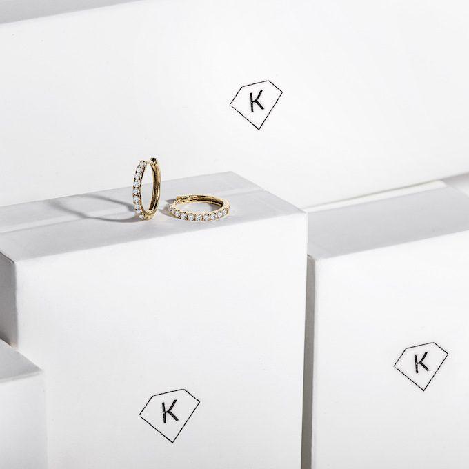 Gelbgold-Ohrringe mit Diamanten - KLENOTA