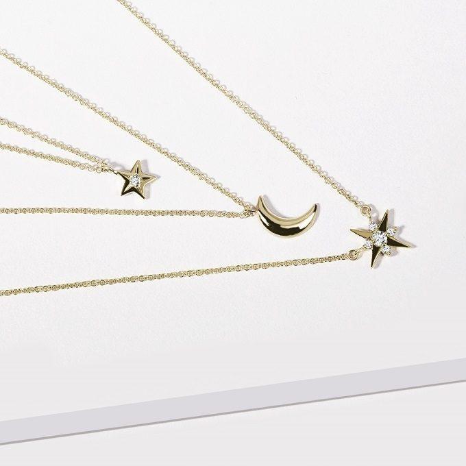 Colliers en or jaune avec pendentifs en forme d'étoile et demi-lune avec diamants - KLENOTA