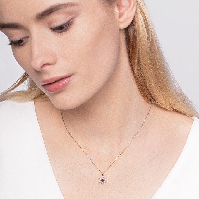 Rubinowy naszyjnik kwiat z diamentami - KLENOTA