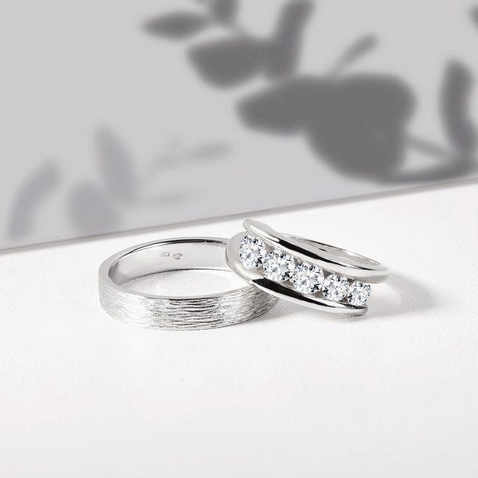 luxusní snubní prstýnky z bílého zlata s diamanty - KLENOTA