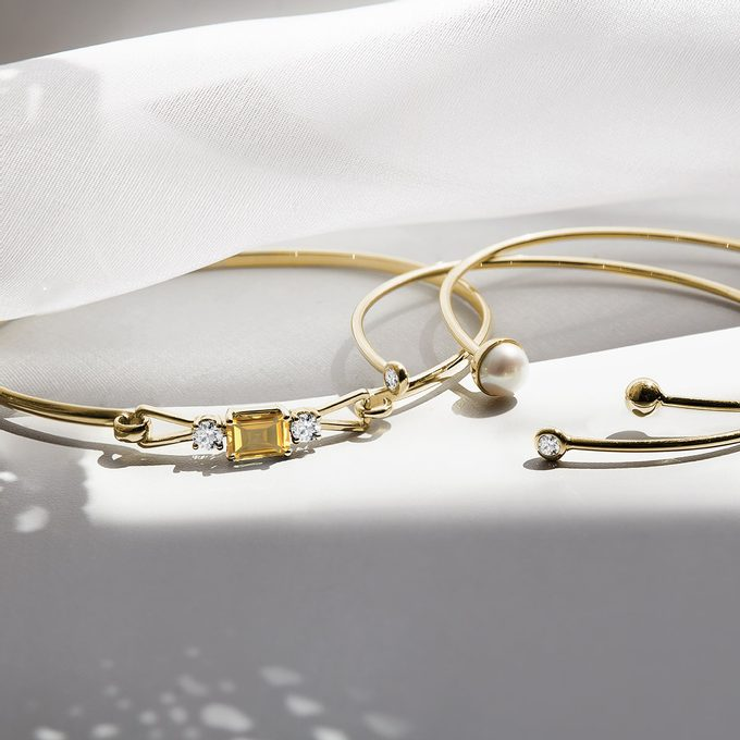solid yellow gold bracelet with citrine and diamonds - KLENOTA