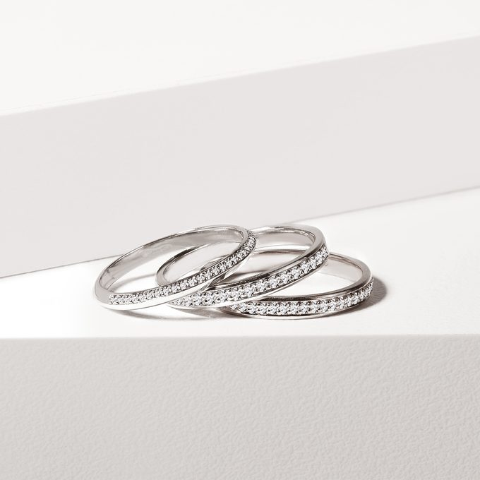 wedding rings with diamonds in white gold - KLENOTA