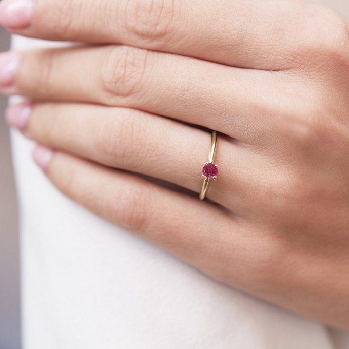 Złoty pierścionek z rubinem - KLENOTA