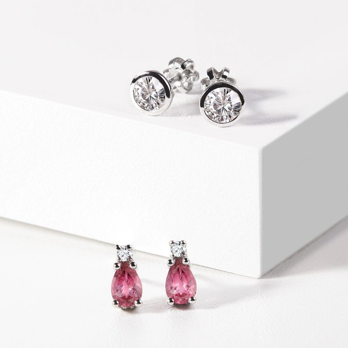 tourmaline earrings with diamonds - KLENOTA