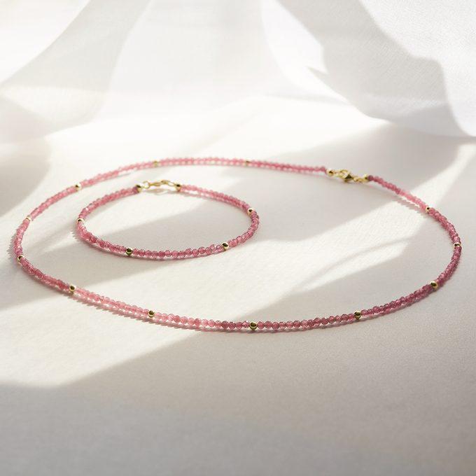 Luxus-Mineralien-Halskette und Armband aus Turmalinen - KLENOTA