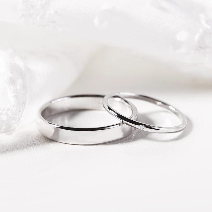 minimalistické snubní prsteny bílé zlato - KLENOTA