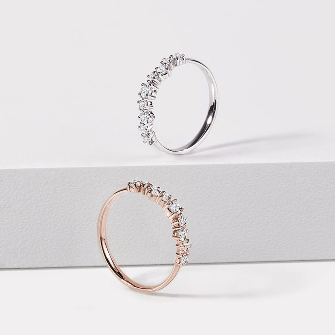 wedding ring with diamonds in white and pink gold variant - KLENOTA