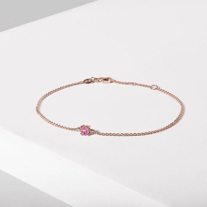 náramok ružové zlato s ružovým zafírom - KLENOTA