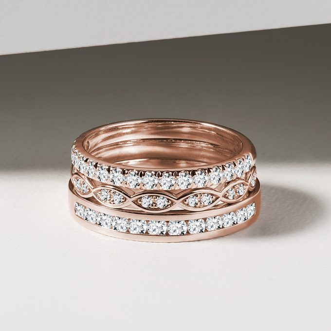 Rose gold wedding rings with diamonds - KLENOTA