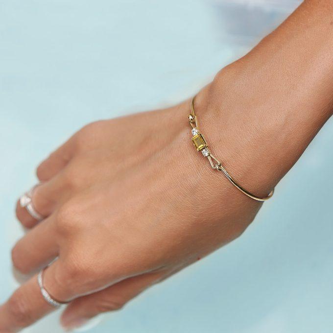 yellow gold bracelet with citrine and diamonds - KLENOTA