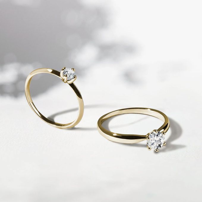 zásnubní prsten s briliantem ve žlutém zlatě - KLENOTA