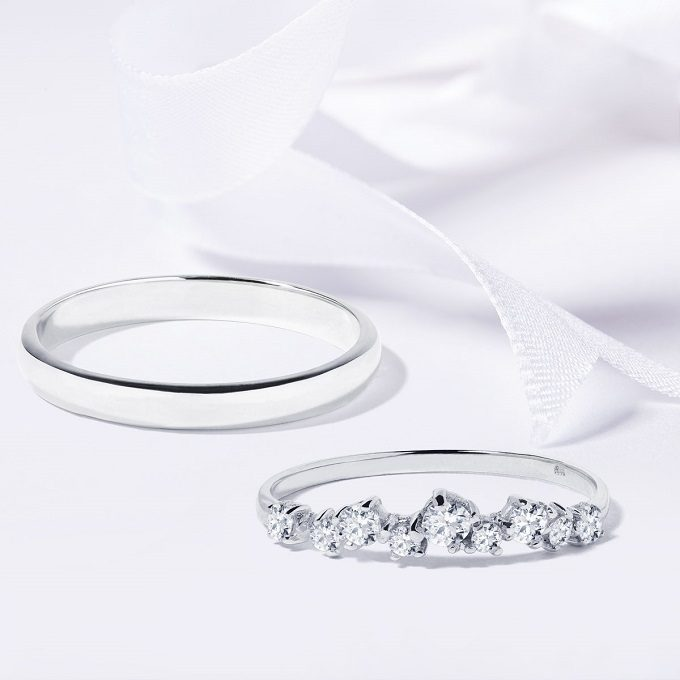 White gold wedding rings with diamonds - KLENOTA