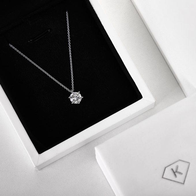 diamantový náhrdelník v bílém zlatě - KLENOTA
