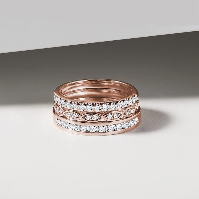 wedding rings with rose gold diamonds - KLENOTA