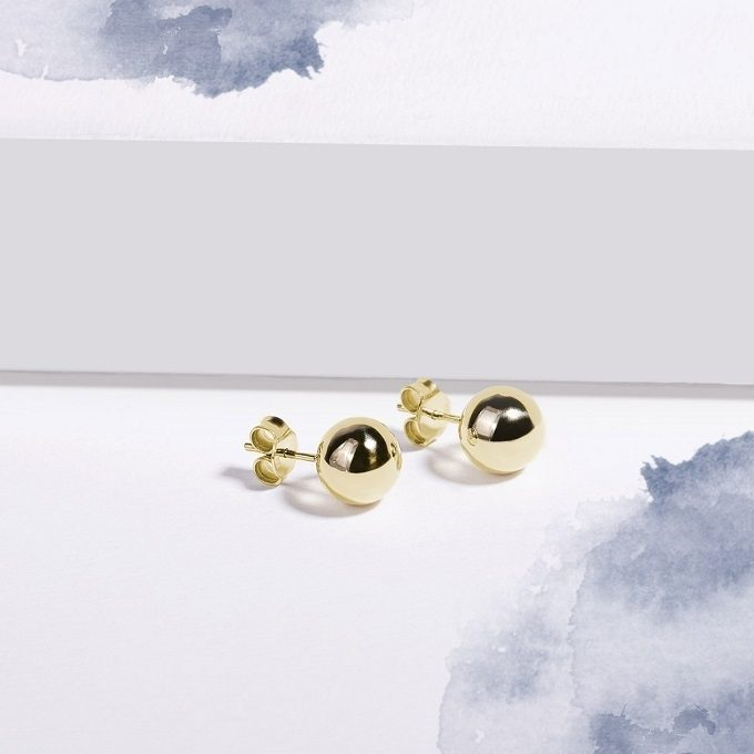 Golden stud earrings balls - KLENOTA