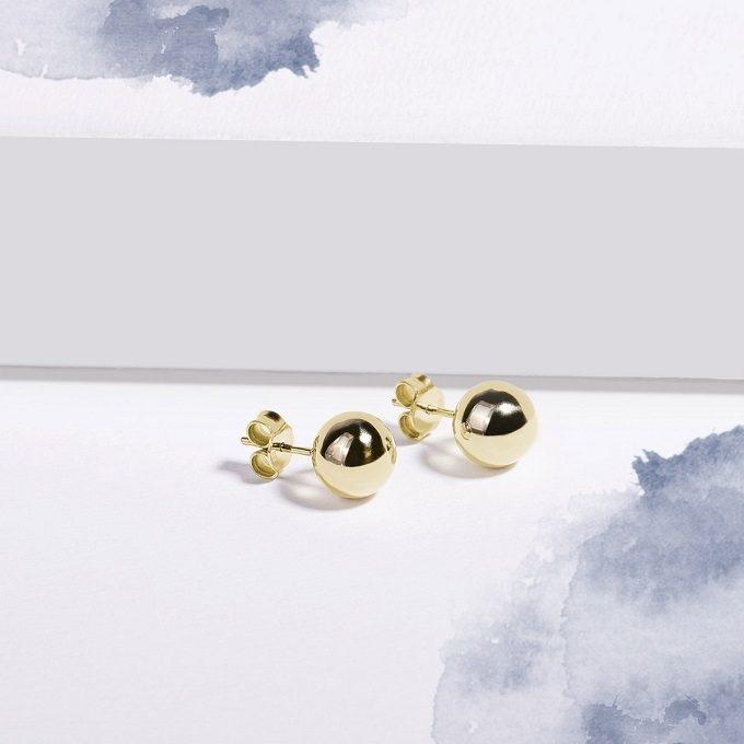 Golden stud earrings balls - KLENOTA