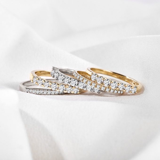 wedding rings with diamonds in white, pink and yellow gold - KLENOTA
