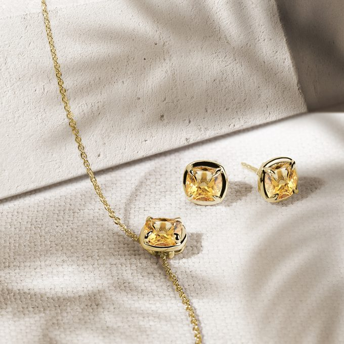 citrine jewellery made of yellow gold - KLENOTA