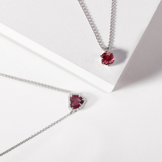 tourmaline necklaces in white gold - KLENOTA