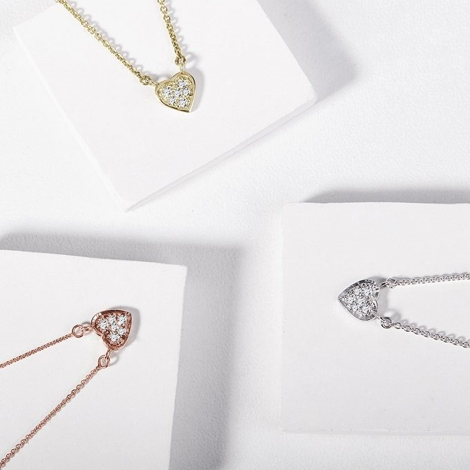 Diamond heart pendants in yellow, white and rose gold - KLENOTA