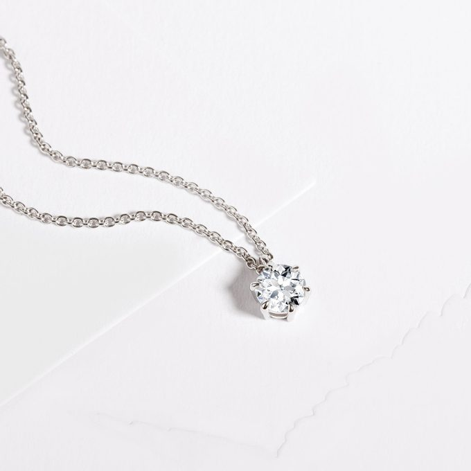 white gold chain with diamond - KLENOTA