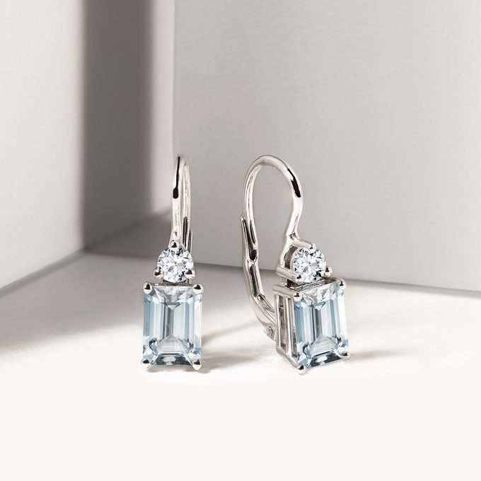 earrings in white gold with aquamarine and topaz - KLENOTA
