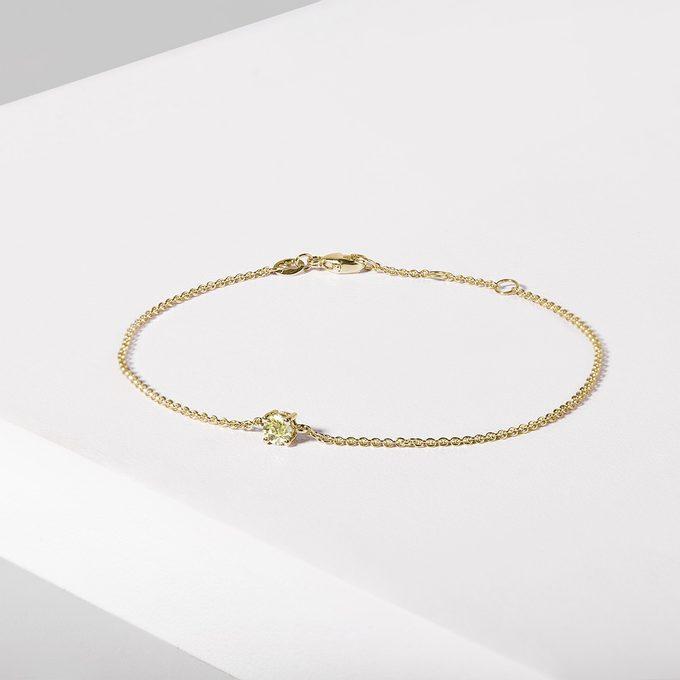 náramek ze žlutého zlata se žlutým diamantem - KLENOTA