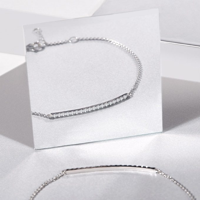 Náramek z bílého zlata s diamanty z kolekce Rain - KLENOTA