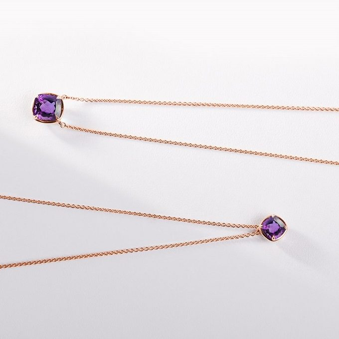 Rose gold pendant and necklace with amethyst - KLENOTA
