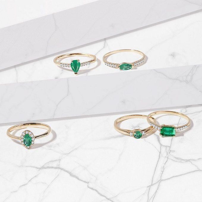 Gold rings with emeralds and diamonds - KLENOTA