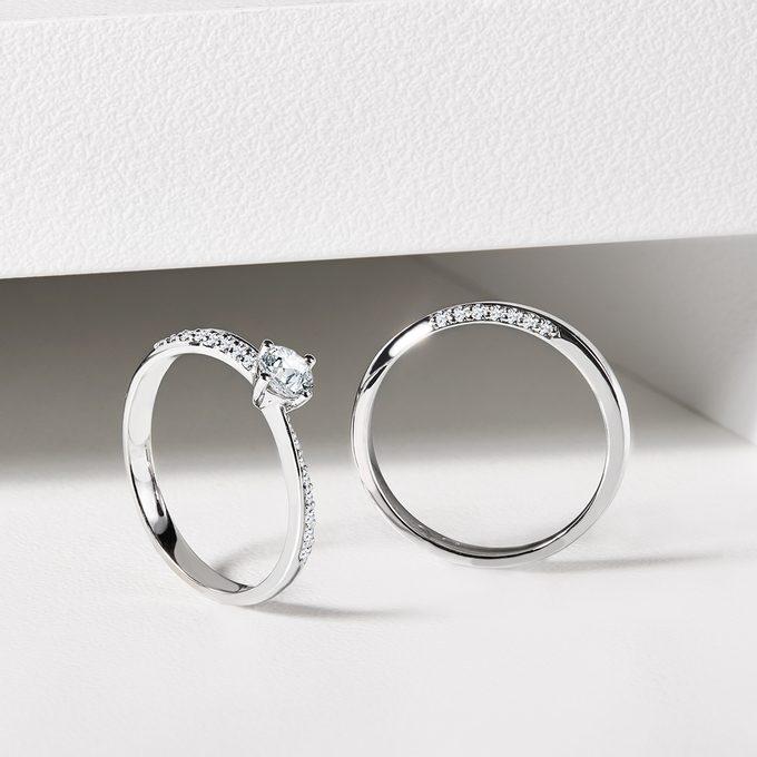 snubný a zásnubný prsteň s diamantmi v bielom zlate - KLENOTA