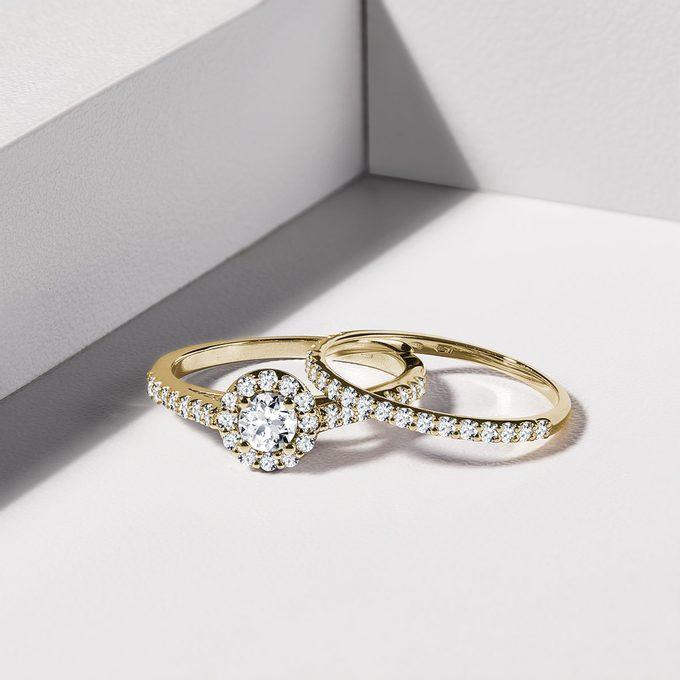 prstene zo žltého zlata s diamantmi - KLENOTA
