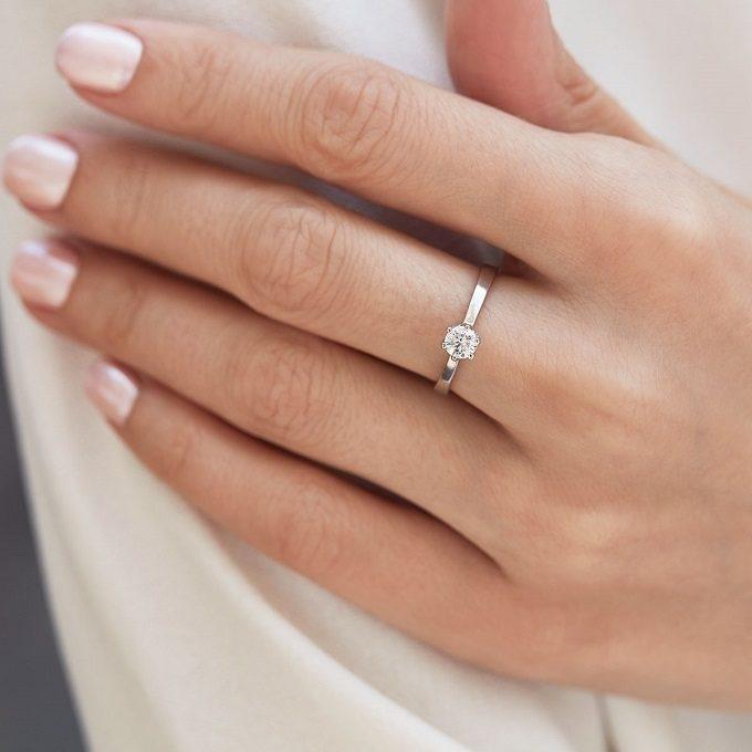 Bague de fiançailles avec diamant en or blanc - KLENOTA