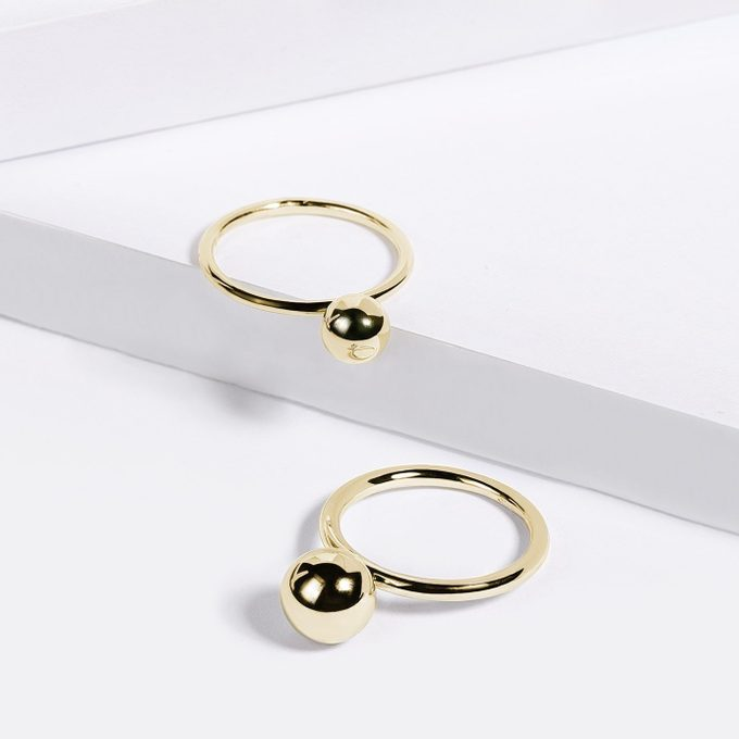 gold minimalist rings with a ball - KLENOTA
