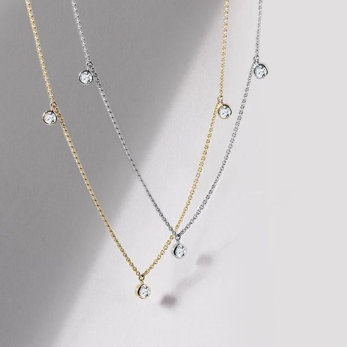 minimalist elegant chains with diamonds in white and yellow gold - KLENOTA