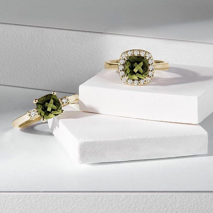Bagues en or avec moldavite et diamants - KLENOTA