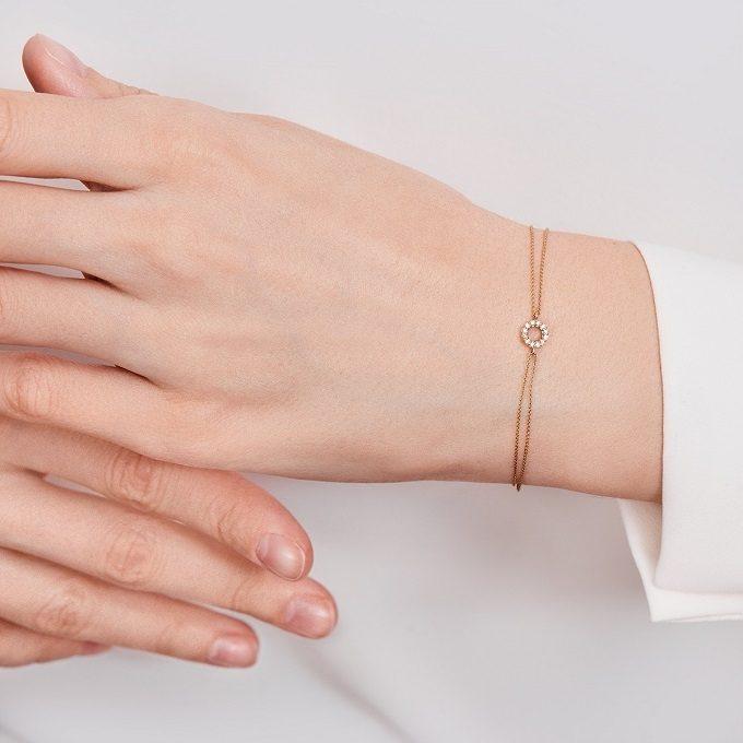Náramek z růžového zlata s diamanty - KLENOTA