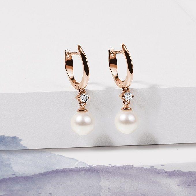 Náušnice z ružového zlata s perlou a diamantom - KLENOTA