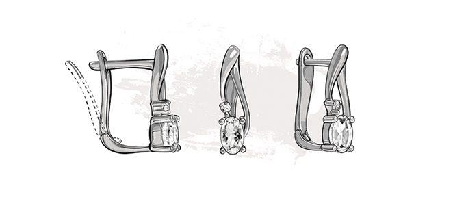 ruský francouzský patent zapínání náušnice KLENOTA