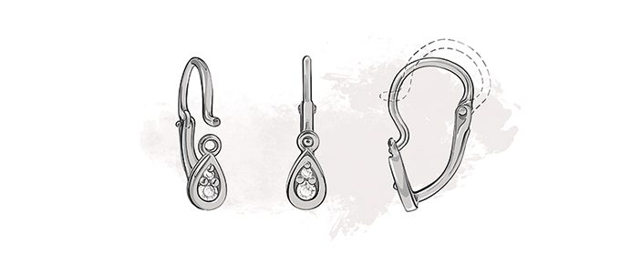 type of earring closures - front closure