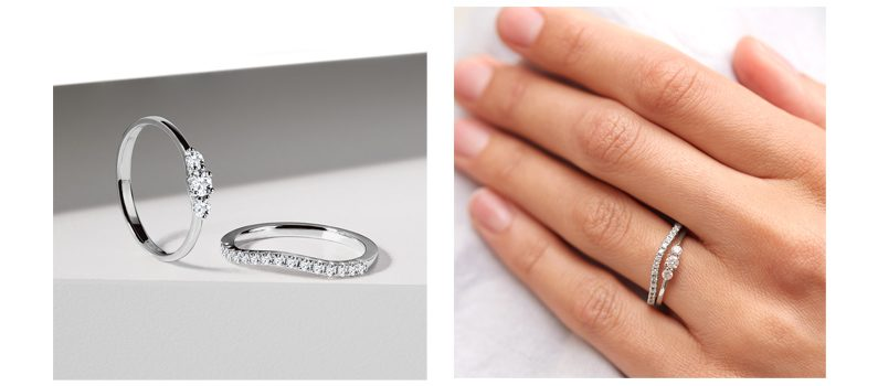 Set of diamond rings white gold - KLENOTA