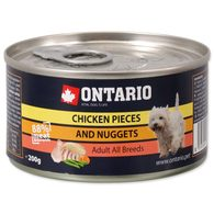 Konzerva ONTARIO Dog Chicken Pieces + Chicken Nugget 200g